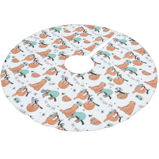 Cute Sloth Pattern Brushed Polyester Tree Skirt