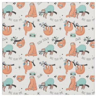 Cute Sloth Pattern Fabric