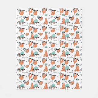 Cute Sloth Pattern Fleece Blanket