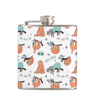 Cute Sloth Pattern Hip Flask