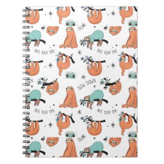 Cute Sloth Pattern Notebook