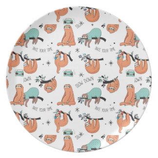 Cute Sloth Pattern Plate