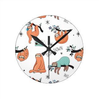 Cute Sloth Pattern Round Clock
