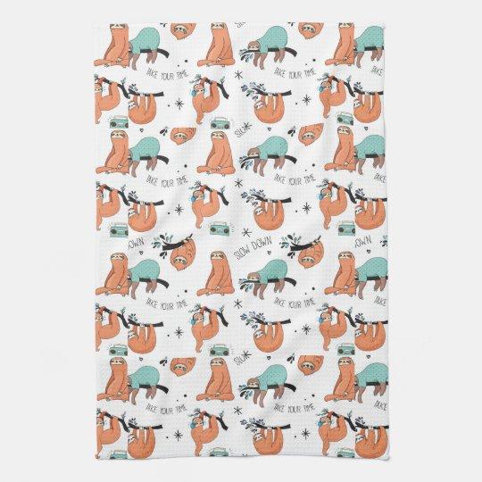 Cute Sloth Pattern Tea Towel