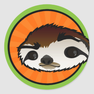 CUTE SLOTH ROUND STICKERS