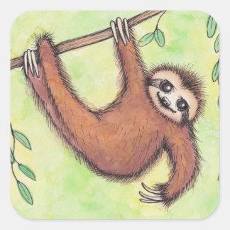 Cute Sloth Square Sticker