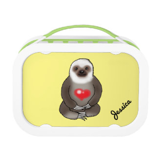 cute sloth with red heart (add name) lunch box