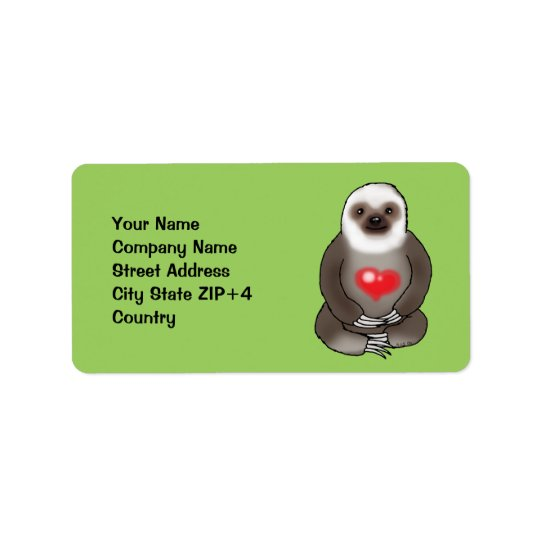 cute sloth with red heart (add text) address label