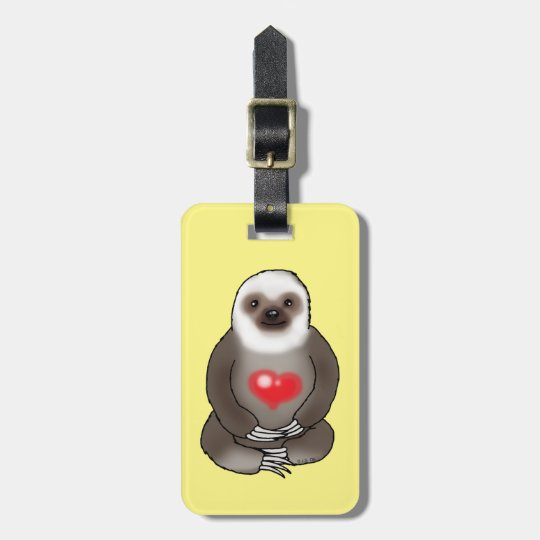 cute sloth with red heart (add text) bag tag