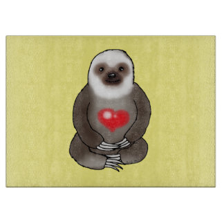 cute sloth with red heart cutting board