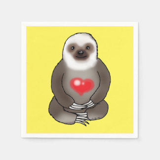 cute sloth with red heart paper napkin