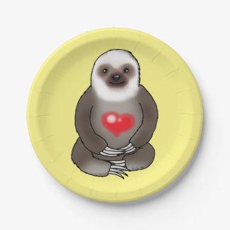 cute sloth with red heart paper plate