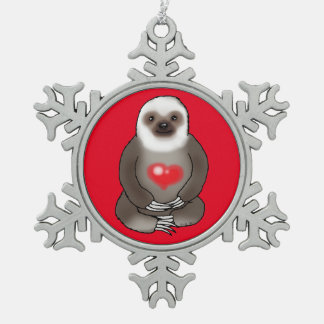 cute sloth with red heart pewter snowflake decoration