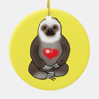 cute sloth with red heart round ceramic decoration