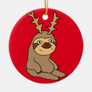 Cute Sloth with Reindeer Antlers Christmas Art Christmas Ornament