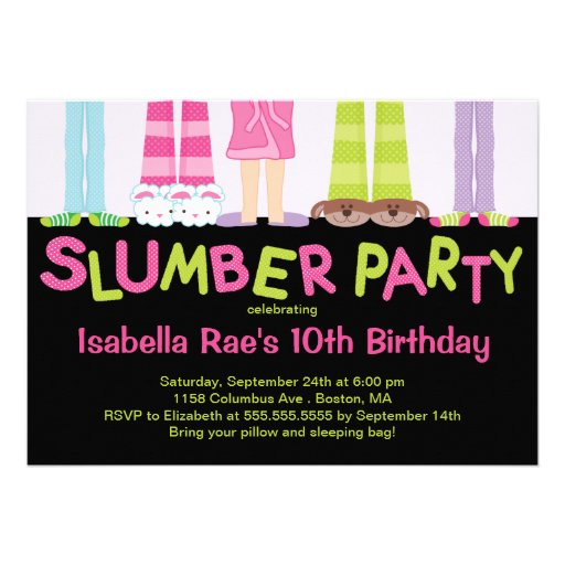 Cute Slumber Party Birthday Party Invitations