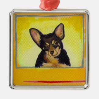 Cute small dog art black and tan chihuahua minpin Silver-Colored square decoration