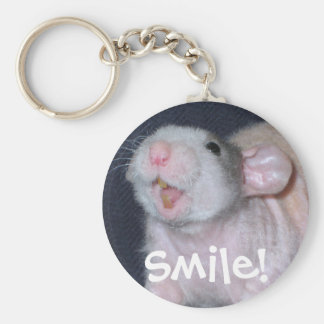Cute Smile Rat Basic Round Button Key Ring