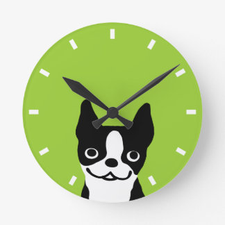 Cute Smiley Boston Terrier - Color Customizable Round Clock