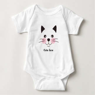 Cute, smiley cat face baby bodysuit