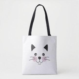 Cute, smiley cat face tote bag