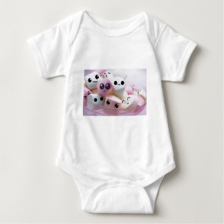 cute smiley face marshmallows baby bodysuit