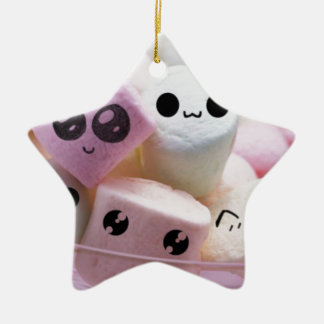 cute smiley face marshmallows ceramic star decoration