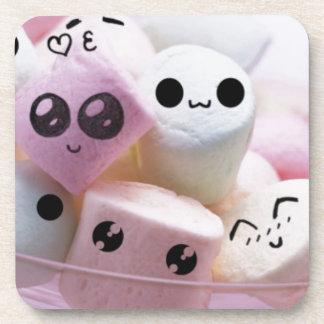cute smiley face marshmallows coaster