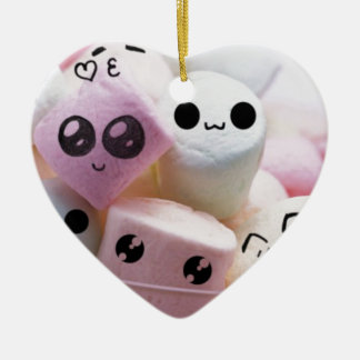 cute smiley face marshmallows ceramic heart decoration