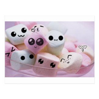 cute smiley face marshmallows postcard