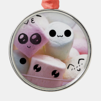 cute smiley face marshmallows Silver-Colored round decoration