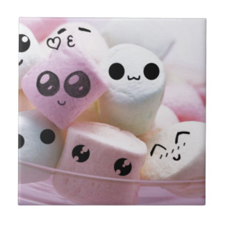cute smiley face marshmallows small square tile