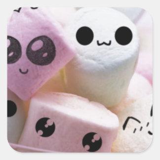 cute smiley face marshmallows square sticker