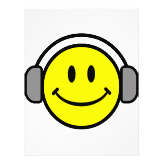 cute smiley face with headphones flyers