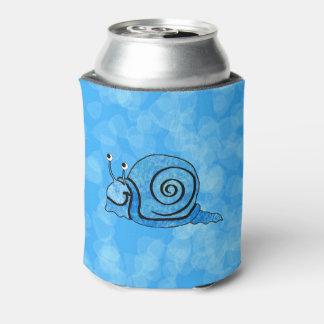 Cute Smiling Cartoon Blue Snail Can Cooler