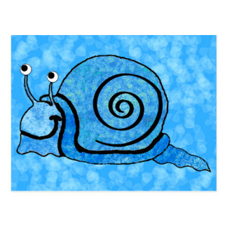 Cute Smiling Cartoon Blue Snail Postcard