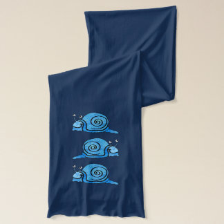 Cute Smiling Cartoon Blue Snail Scarf