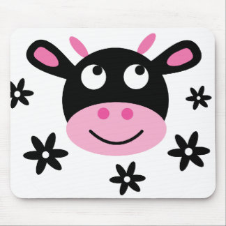 Cute Smiling Cartoon Cow Charity Mouse Pad