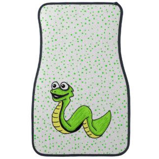 Cute Smiling Cartoon Green Yellow Snake Car Mat