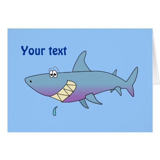 cute smiling cartoon shark customisable template