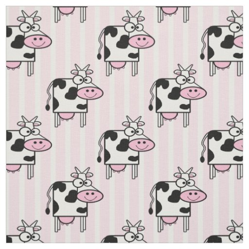Cute Smiling Cow Animal Print Pattern Fabric