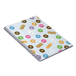 Cute Smiling Donuts and Coffee Notebook