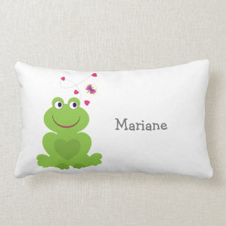 Cute smiling frog with hearts and butterfly lumbar cushion