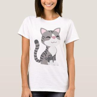 Cute Smiling Gray Tabby Cat T-Shirt