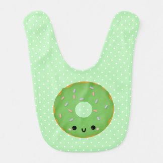 Cute Smiling Green Donut Baby Bib