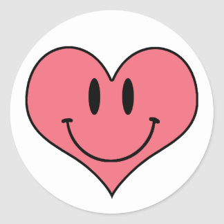 Cute Smiling Heart, Valentine's Love Sweetheart Round Sticker