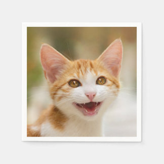 Cute Smiling Kitten Face - Funny Cat Meow Photo - Disposable Serviette