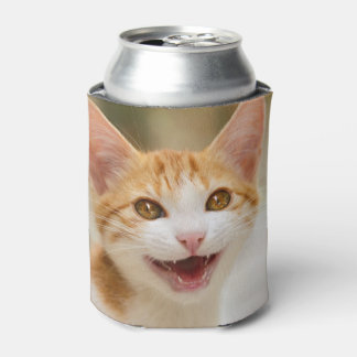 Cute smiling kitten funny cat meow can cooler
