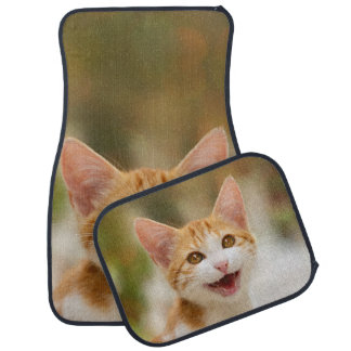 Cute Smiling Kitten Funny Cat Meow Photo floormats