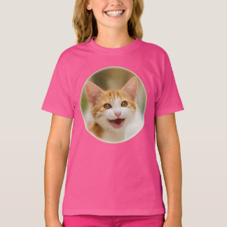 Cute Smiling Kitten Funny Cat Meow Photo - pink T-Shirt